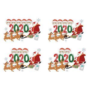 Wall personalizado cuarentena de Navidad pegatinas Superviviente de Familia con miembro de máscara etiqueta engomada DIY de escritura a mano puerta de la pared Decoración DWE2321