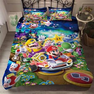 HELENGILI 3D Пододеяльник Mario Party Print пододеяльник Set Bedcloth С наволочки кровать Домашний текстиль # MLA21 KN7G #