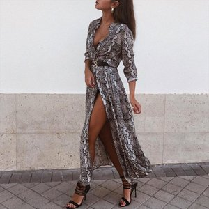 Women Autumn Dresses Sexy Women Snake Skin Pattern V Neck Long Sleeve Dress Ladies Maxi Dresses Evening Party Dress designer clothes