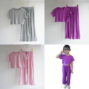 INS Summer New Arrival Girls Fashion 2 Pieces Suit Top+pants Blank Cotton Quality Kids Sets Straps Trousers Girls Clothes 537 K2