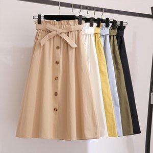 Single Buckled Bow Solid Cotton Skirt Women For Summer 2020 Slim Black Skirts Women Belt Pocket Yellow Knee Length Skirt
