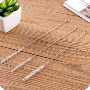20 Cm Reusable Straw Cleaning Brushes Stainless Steel Wash Drinking Pipe Straw Brush Cleaner Household Kitchen Accessories Lx7906