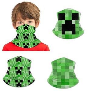 Adolescent Minecraft Ice Silk Bavoir imprimé Polyester Ammoniac Bandanas Masques visage Guards poignet Colliers Bandeaux Bandeau Pirate Chapeaux Masksed