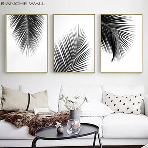 Tropical Plant Palm Tree Leaves Black White Poster Wall Art Picture Canvas Painting Print Decor Wall Art Picture for Living Room