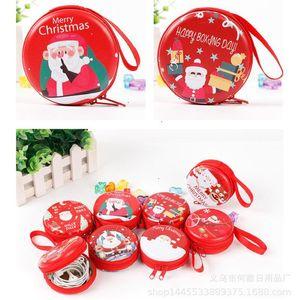Cartoon coin key storage bag Creative tinplate Christmas purse mini portable round zipper earphone