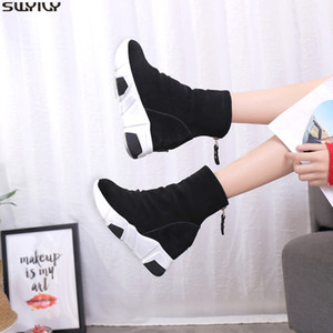 SWYIVY Wedge Shoes Women Sneakers Platform Causal Shoe Female Ankle Boots Casual Winter Warm Sock Shoes Snow Boots Women 201021