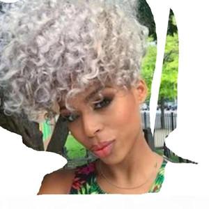 Moda Kinky Curly Grey PonyTail Extension Crudo Virgin Hair Pein Fashion New Silver Grey Pony Tail Haderpiece 100g 120g 140g