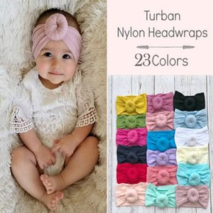 M MISM 2020 Mode Nouveautés filles Round Knot Nylon Bandeaux élastique large Bandeaux enfants Turban ronde Accessoires cheveux