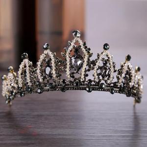 Luxe Vintage Baroque Tour Tiara Noir Strass Beads Crowns Royal Queen Head bandeau pour Femmes Party Mariage Accessoires pour cheveux