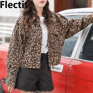 Flectit Женщины Леопардовый джинсовая куртка с длинным рукавом с длинным рукавом Винтаж Животных принт Джинсы Куртка
