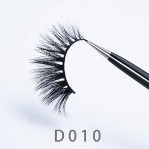 [Vizon Yanlış Eyelashes-D010] 3D Yanlış Eyelashes 1 çift 3D Vizon Kirpikler Doğal Mink Kirpik Makyaj güzel kirpikler ambalaj