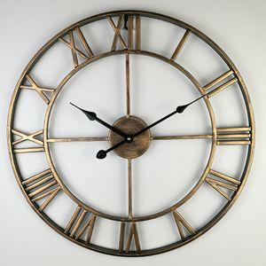 Round Big Display Clock Retro Roman Rustic 16x2Inch Silent Slip Wall Clock, for Balcony Kitchen Living