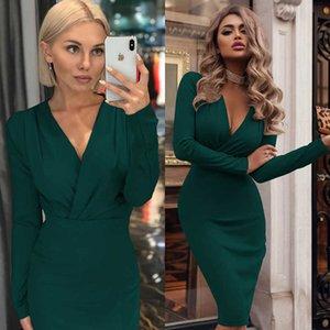 Günlük Kadınlar Katı Renk Elbise Moda İlkbahar Sonbahar BODYCON Elbise Yeni Geliş Bayanlar Uzun Kollu Kısa Kadın Elbise S-2XL