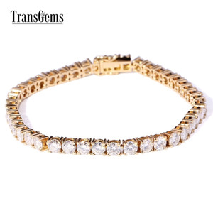TransGems Solid 14K Yellow Gold 12.6 CTW 4mm Diameter F Color Moissanite Tennis Bracelets for Women Wedding Link Bracelets Y200620