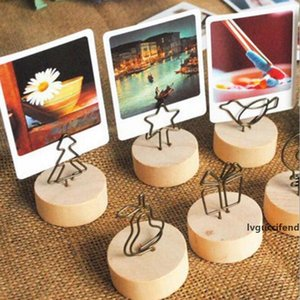Creative round original wood wrought iron photo clip Memo Name Card note folder business card holder message folder