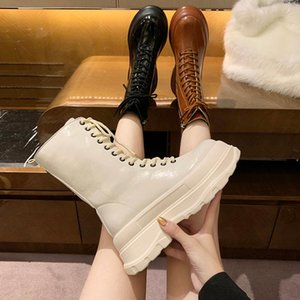 Shoes Lace Up Boots Mid-Calf Booties Women Winter Footwear Round Toe Boots-women Luxury Designer Low Autumn 2020 Leather Lolita