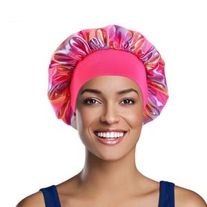 Night Sleeping Sleeping Turban Hat Bonnet Chemo Мусульманские Женщины Широкие Стремящиеся Шелковый Сатин Дышащие Волос Аксессуары для волос LLA33