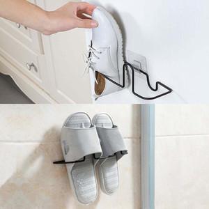 Montaje de pared Zapato Estante Estante Estante Almacenamiento Organizador Cuarto de baño Sala de ducha No hay perforación Ninguna herramienta, Instalación gratuita de daños