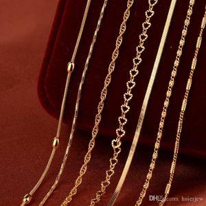 Collana a catena d'oro per pendente fai da te placcato oro rame contorto corda catena all'ingrosso gioielli splendidamente