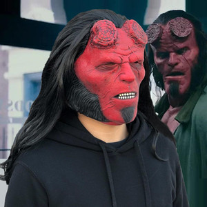 Surgimiento de Hellboy: Máscara de la Reina de la caída de Cosplay El látex Hellboy nave Sangre Máscaras Casco Halloween Horror Party Props oscuridad llamada T20062 Dmck