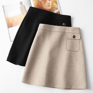 Herbst Winter Wollmini Röcke für Frauen Hohe Taille Koreanische A-Linie Shorts Röcke Schule Uniform Schwarz Beige Kawaii Faldas Mujer1