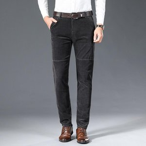 New Corduroy Pants Straight Men Casual Pants Slim Stretch Male Pant High Quality Business Wild Winter Keep Warm Mens Trousers