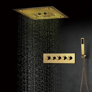 Luxury doccia Ti-PVD Oro Color Set Misty massaggio doccia a cascata doccia Sistemi termostatico ottone miscelatore doccia Valvole