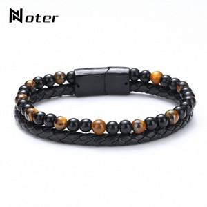 Trendy Mens Bracelet Natural Lava Tiger Eye Braslet Double Layer Leather Braclet Hiphop Punk Brazalete Present For Men Bileklik V4CL#