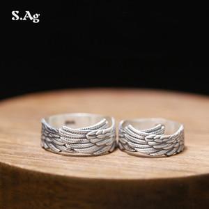 Han 990 Pure Silver Открытое кольцо, Foot Silver Feather Пара кольцо, пара кольцо серебро ювелирные изделия оптом