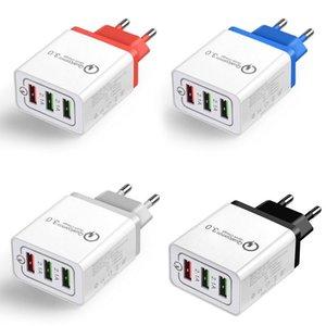 US US Plug Adapter Adapter Adapter Fast Phone Настенное зарядное устройство USB 3 .0 3 Порты Конвертер AC Адаптер Путеводитель