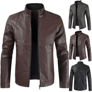 2020 Men's Casual Leather Jacket New Style Stand Collar Solid Color Leather Jacket Men's Business Fashion