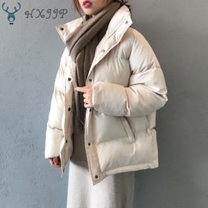 Otoño Invierno Chaqueta Mujeres Parkas Hxjjp abrigo de moda Soporte suelto Cuello de collar Mujer Parka Parka Cálido Casual Tallas grandes Sobrecoat 201105