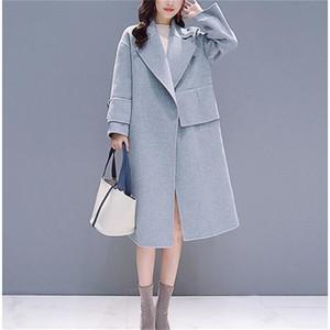 Fashion Women Wool Overcoat Solid Wool Long Coat Women Woolen Women Coat 201223