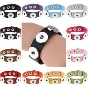 14 colori Snap Button braccialetti di cuoio braccialetti del braccialetto di fascino dell'unità di elaborazione per le donne 18 millimetri Snap pulsante gioielli AHC2710