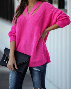 V-neck casual women's pullover sweater Knit sweater Pure color pullover winter new style