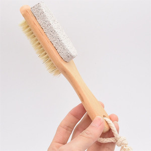 Nuovo pennelli setole piede stridente piede pietra sfregamento Consiglio Spazzola di pulizia Comodo da doccia di legno 3 6sm G2