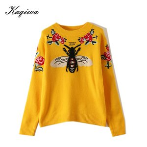 Fashion Runway Women Sweater Autumn Winter Floral Embroidery Bee Animal Long Sleeve Yellow Pullover Jumper Tops B-006 201006