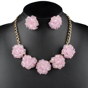 Claire Jin-Blumen-Halskette und Ohrring-Bolzen-Frauen Schmuck Sets Anhänger für Mädchen passende Kristall Mode Accessoires Geschenke