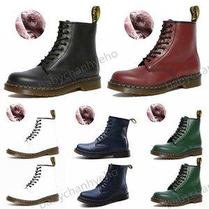 Dr.martens boots Lucyever Womens Otoño Invierno Botas de tobillo Encaje Tacones planos Piel de algodón Plataforma acolchada Zapatos Mujer Cuero Militar Botas Mujer