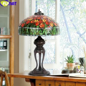 FUMAT Tiffany Style Desk Light Tulip Rose Bouquet Stained Glass Table Decor Lamps Masic Copper Crane Frame Base Colorful 20 Inch