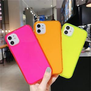 Étui de téléphone couleur fluorescent pour iPhone 11 PRO Coques antichoc coiffe Douce TPU Soft TPU Couverture téléphonique pour iPhone 7 8 Plus x