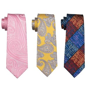 2020 Barry.Wang Men`s Tie Silk Jacquard Woven Gravata Necktie Hanky Cufflinks Sets For Business Wedding Party