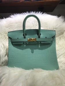 von Roder Wholesale echte matte Krokodilhandtasche 30cm, hellgrüne Farbe, vollständig handgefertigter Wachsfaden, kann andere Größe, schnelle Lieferung erstellen.