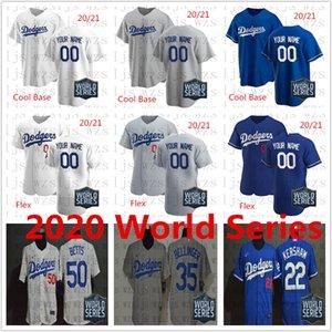 2020 World Series Dodgers costurado 10 Turner 13 Muncy 21 Buehler 22 Kershaw 35 Bellinger 50 Betts baratos Jersey Baseball