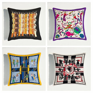Luxury Decorative Pillow Covers Fashion Cartoon Characters Pattern Double Side Printing Pillowcase Nordic Model Room Sofa Cushion Covers