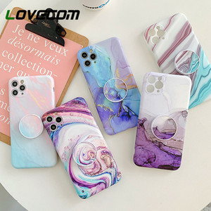 Camera Protection Marble Phone Case With Holder For iPhone 11 Pro Max XR X XS Max 7 8 Plus SE 2020 Case Soft IMD Phone Cover Bag