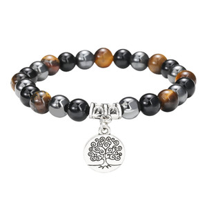 New 6mm 8mm Natural Stone Beaded Couples Bracelet Black Agate Tiger Eye Hematite Energy Beads Life Tree Charm Bracelet Jewelry fit Women Men