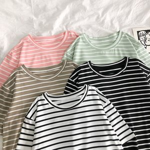 2020 fashion summer T Shirt Women Solid Color Striped Punk T-shirt O-Neck Casual Harajuku Short