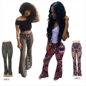 Stylish Hot Women Boho Printed High Waist Stretch Slim Flare Bell Bottom Pants Long Flare Trousers Clubwear Beach Style