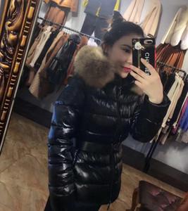 Fashion Women Designers Down Jacket Winter Women Dress Down Coat Real Raccoon Fur Coat Detachable Collar Hood Parkas Doudoune Sashes British